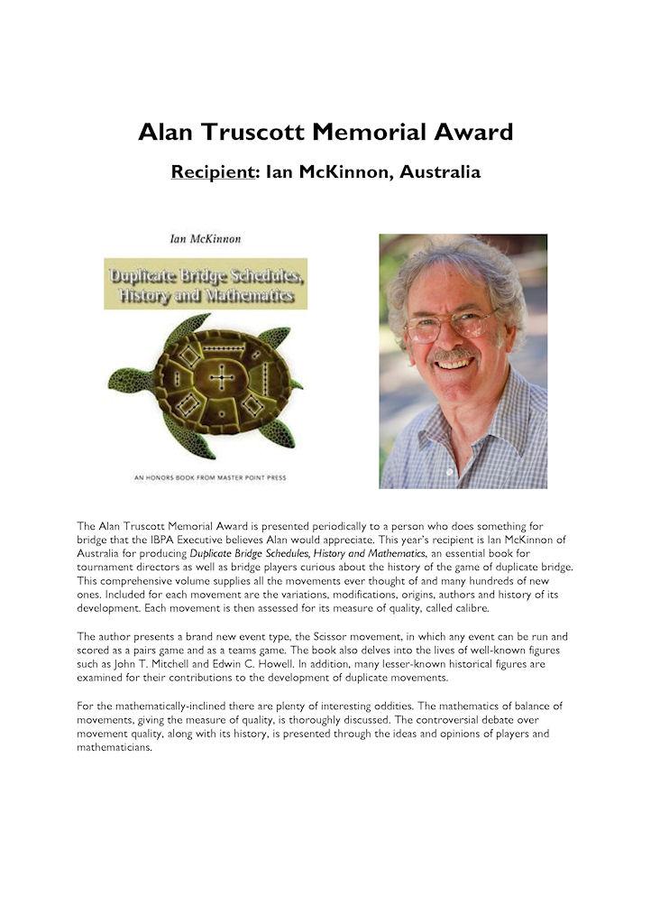 IBPA Alan Truscott Award