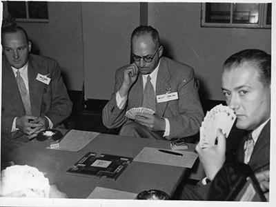 NSW v VICTORIA - L to R Robert ELLIS, Charles HICKMAN & Tim SERES - 1954 Interstate Championship, Brisbane : Scanned S HINGE Nov 2009